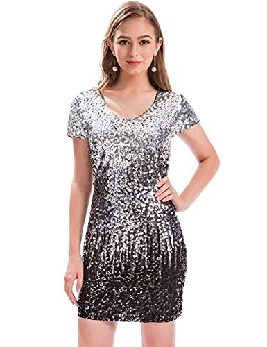 MANER Women's Sequin Glitter Short Sleeve Dress Sexy V Neck Mini Party...