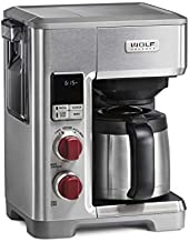 Wolf Gourmet Programmable Coffee Maker System with 10 Cup Thermal Carafe, Built-In Grounds Scale, Removable Reservoir, Red Knob, Stainless Steel (WGCM100S)