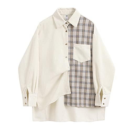 Patchwork Plaid Women Blouse Autumn Elegant Long Sleeve Fashion Casual Loose Turn-Down Collar Female Shirts Streetwear