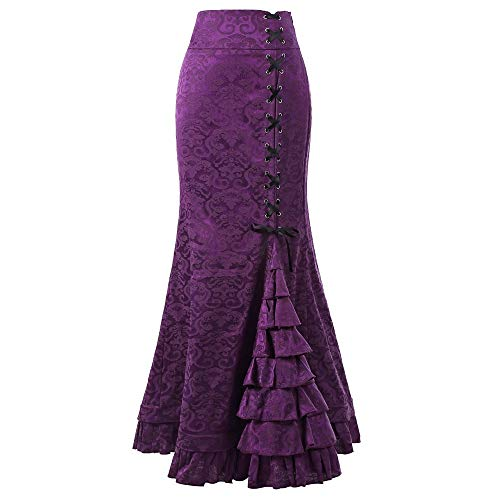 Women Punk Style Retro Mermaid Skirt Vintage Long Bodycon Ruffle Fishtail Skirt Purple
