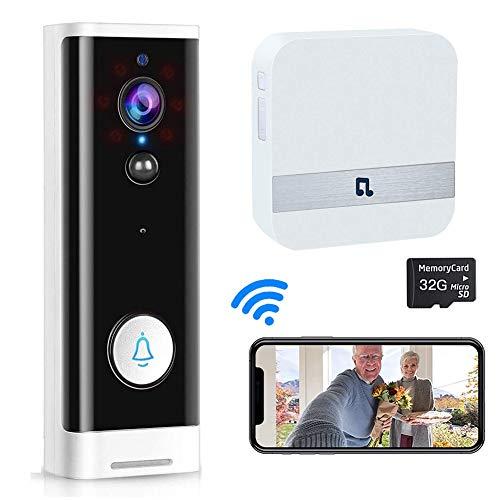Video Doorbell WiFi Wireless Doorbell Camera Work with Alexa, 1080P HD...