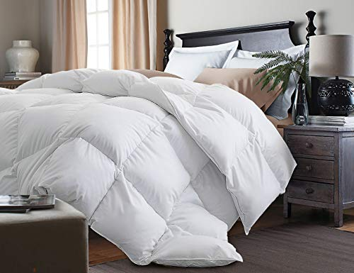 Kathy Ireland White Feather Goose Down Comforter-All Season Warmth, Full/Queen