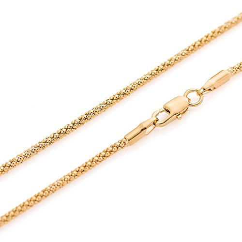 1mm thick 14k gold plated on solid sterling silver 925 Italian COREANA POPCORN chain necklace chocker bracelet anklet - 15, 20, 25, 30, 35, 40, 45, 50, 55, 60, 65, 70, 75, 80, 85, 90, 95, 100cm