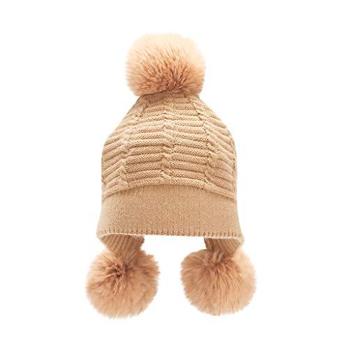 Rosennie Damen Winter Strickmütze Elegant Warm Beanie Grobstrick Mützen Mode Fleece Bommel Beanie Hut mit Pompon für Warm Halten Ohr Fashion Outdoor Ski
