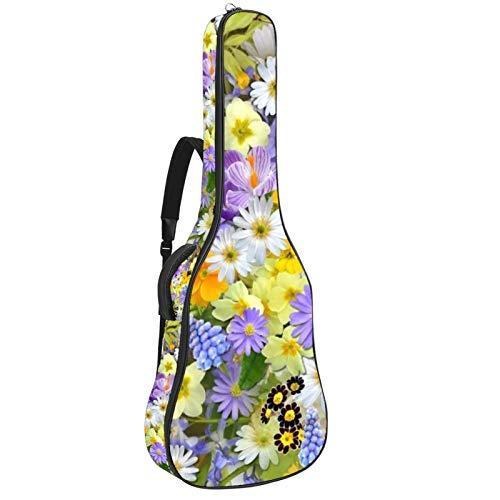 Guitar Gig Bag Waterproof Zipper Soft Guitar Backpack, Bass Acoustic & Classical Folk Electric Guitar Bag Collage Floral Blossom
