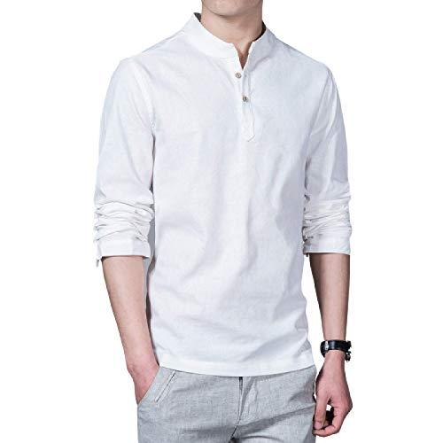 Camisas de Manga Larga para Hombre Primavera y Verano Decoración de Botones Camisas de Manga Larga Delgadas Casuales Camisas de Talla Grande de Color sólido Simple 3XL