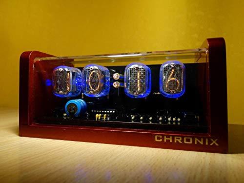 CHRONIX Nixie Tube Clock with 4xIN-12 Tube displays & Alarm & Blue Backlight & Aluminum golden red Painted case Nixie röhren Uhr …