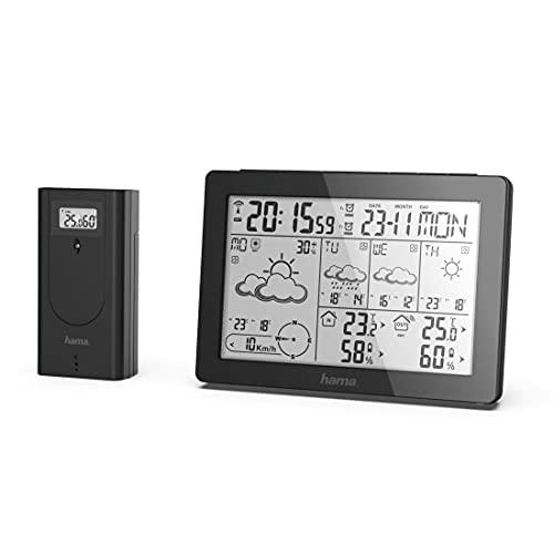 Hama Profi Wetterstation (Wettervorhersage mit Daten von professionellen Meteorologen, Funk Wetterstation mit Außensensor, Temperatur, Luftfeuchtigkeit, Windgeschwindigkeit, innen und außen) schwarz