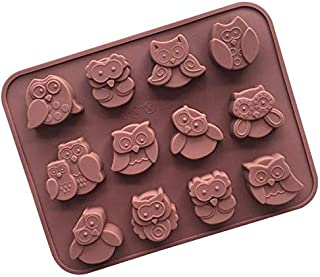 Cute 12 Cavities Animal Owl Shaped Silicone Chocolate Candy Cake Molds