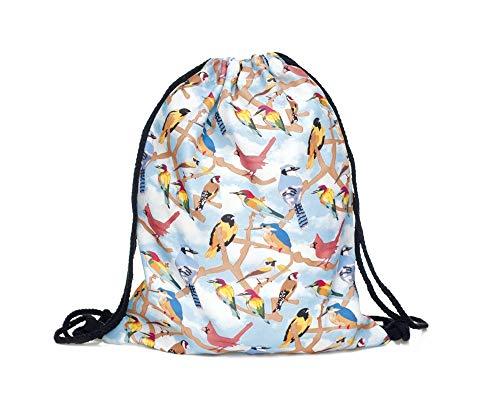Hanessa RU-255 Jute zak, enkele kleurrijke vogels op takken, met grappige spreuk, sporttas, grappige spreuken, tas, rugzak, zak, zak, tas, gymtas, hipster, modieus, sporttas, boodschappentas