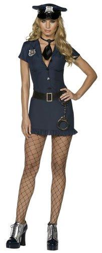 SMIFFYS Smiffy's Costume Fever da Poliziotto malizioso, con Vestito, Cravatta, Cappello e Cintura, Donna, Nero, S - EU Dimensione 36-38, 32036S