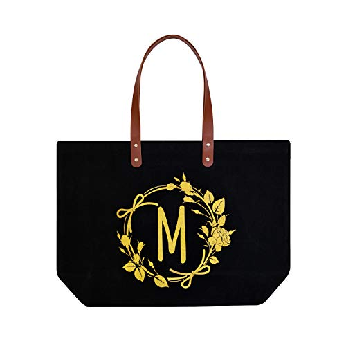 ElegantPark Birthday Gifts for Women Personalized Monogrammed Gifts Bag Monogram M Initial Bags and Totes for Wedding Gifts Teacher Gifts Bag with Pocket Black Canvas