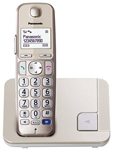 Panasonic KX-TGE210JTN Telefono Cordless Digitale (DECT) Singolo ad Utilizzo Facilitato, Tasti LED Grandi, Compatibilità con Apparecchi Acustici, Champagne