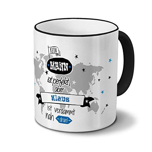 printplanet Tasse mit Namen Klaus - Motiv Nicht Perfekt, Aber. - Namenstasse, Kaffeebecher, Mug, Becher, Kaffeetasse - Farbe Schwarz