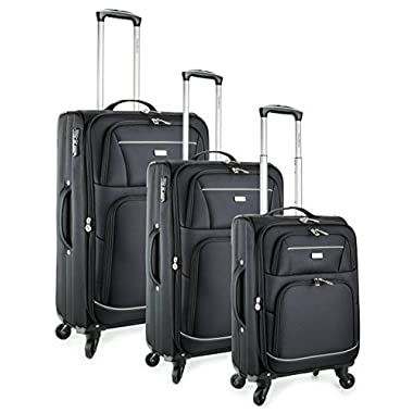 TravelCross Springfield Premium Luggage 3 Piece Lightweight Spinner Set - Black