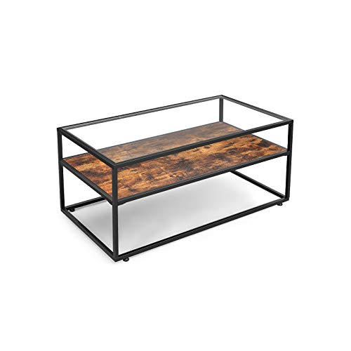 VASAGLE Couchtisch, Wohnzimmertisch mit Glasoberfläche, Glastisch, Sofatisch, Wohnzimmer, stabiles Stahlgestell, Hartglas, Industrie-Design, vintagebraun-schwarz LCT30BX
