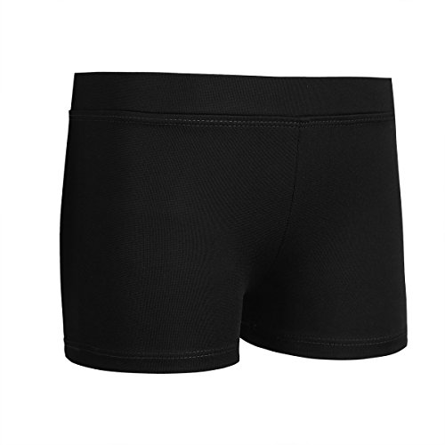 YiZYiF Mädchen Sport Shorts Turnhose Kurz Hose Kinder Trainingsshose Tights Leggings Tanzhose Ballettshorts Pants Hipster Fitness Workout Schwarz 116