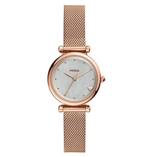 Fossil Women's Mini Carlie Stainless Steel Quartz Watch with Mesh Strap, Rose, 11.6 (Model: ES4505)
