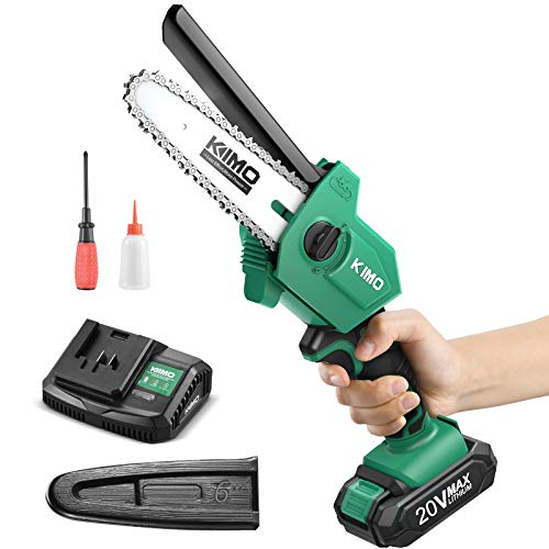 Cordless Chainsaw - KIMO 6-Inch Mini Chainsaw w/ 20V 2.0Ah Battery&Charger, Copper Motor, Safe Trigger, Tool-Free Install for Pruning/Trimming/Gardening, 3.1Lbs Lightweight Ideal for Men/Women/Seniors