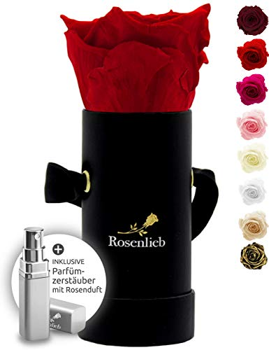 Rosenlieb Rosenbox Schwarz mit Infinity Rosen (3 Jahre haltbar) | Echte konservierte Rose | Flowerbox inkl. Grußkarte | Blumenbox Geschenk für Frau Freundin Muttertag Valentinstag (Pico Bella, Rot)