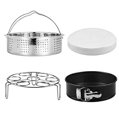 Steamer Basket, Egg Rack Holder, 7 Non-stick Springform Cake Pan, 50 Pcs Cake Paper for Instant Pot Accessories, Vegetable Food Steamer Rack. Fit Pot 5,6,8 qt Pressure