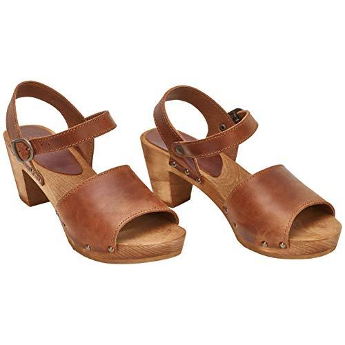 Sanita Enge Square Flex Sandale | Original handgemacht |Flexible Ledersandale für Damen, Größe: 36 EU, Braun