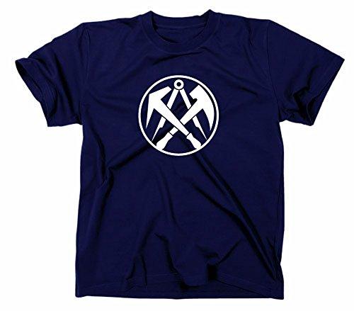 Dachdecker Handwerk Zunft Logo T-Shirt, XL, Navy