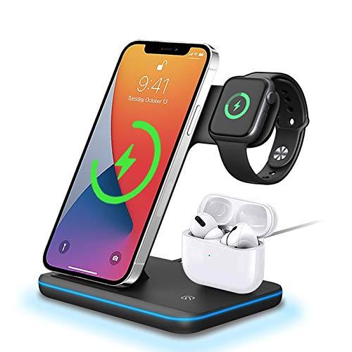 FDGAO Wireless Charger, 15W QI Schnell Induktive ladestation 3 in 1 Kabelloses Ladegerät für Apple Watch Serie 6/SE/5/4/3;AirPods Pro/2/1; iPhone 12/12 Pro/11/XS/X/8 Plus;Samsung/LG(Kein Netzteil)
