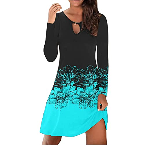 Summer Dresses for Women 2021 Knee Length Sexy Vintage O-Neck Long Sleeve Button Beach Dresses for Women Loose Dresses Blue