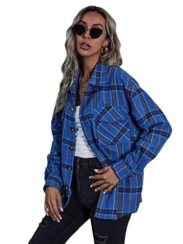 Floerns Women's Casual Plaid Long Sleeve Button Front Collar Blouses Shirts Top Blue M