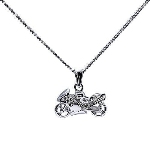 Ascalido® Unisex Halskette mit Anhänger, Motorrad-Design, Sterling-Silber 925, massiv, rhodiniert, inkl. Schatulle
