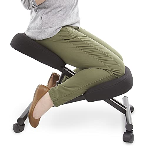 Posture Pro Ergonomic Kneeling Chair with Wheels | Fully Adjustable Mobile Office Seating | Improve Posture & Relieve Back Pain | Easy Assembly | Kneeling Desk Chair for Home, Office & School (Black)
