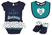 Creeper 100% Cotton, Trim 100% Polyester; Bib & Bootie 100% Cotton Screen printed graphics Snap Closure; Tagless Collar Button and loop closure on back of bodysuit collar Officially licensed by the MLB