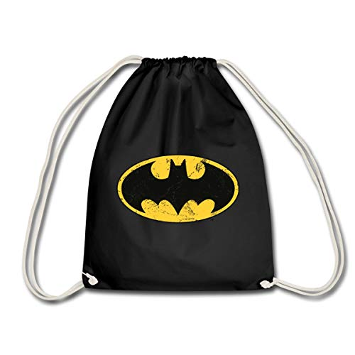 DC Comics Batman Logo Used Look Turnbeutel, Schwarz