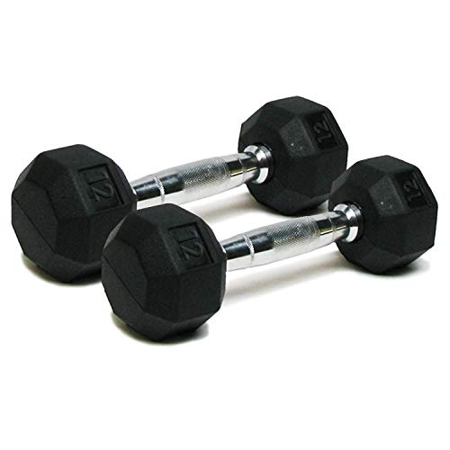 Dumbbells Hand Weights Set of 2 - 12 lb Rubber Hex Chrome Handle Exercise & Fitness Dumbbell for Home Gym Equipment Workouts Strength Training Free Weights for Women, Men