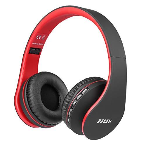 JIUHUFH Bluetooth 4.2 Cuffie Wireless Pieghevole con Microfono Incorporato/Lettore MP3/Radio FM/Auricolari comodi, Supporta la Modalità di Chiamata a Mani Libere/PC/Cellulare (Rosso)