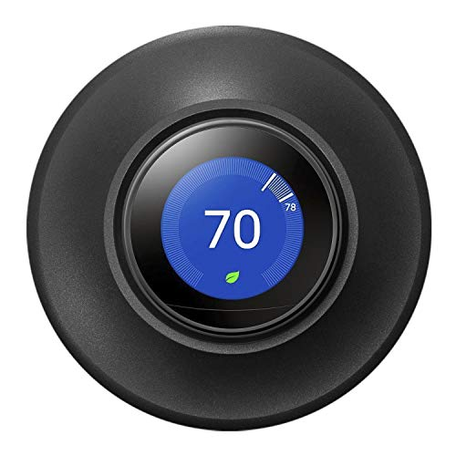 POPMAS Wall Plate Black for Nest Learning Thermostat 3rd 2nd 1st Generation and Nest Thermostat E 3D Stereoscopic Aluminum Round Cover Fingerprint Resistant Bracket Mount