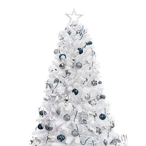 Busybee Albero di Natale da 210 cm con 360 luci a LED e Ornamenti da 135 Pezzi Decorazioni Natalizie in Bianco e Blu tra Cui Sfere per Alberi di Natale Artificiali Completi Ornamenti Luci a LED