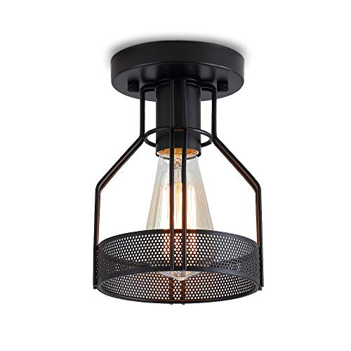 Create For Life Industrial Vintage Rustic Flush Mount Ceiling Light Metal Cage Light Fixture For