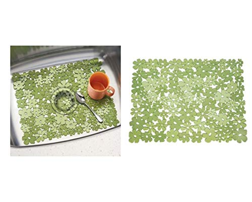 InterDesign Blumz Alfombrilla para fregaderos de Cocina, Gran Protector de Fregadero en plástico PVC, Verde