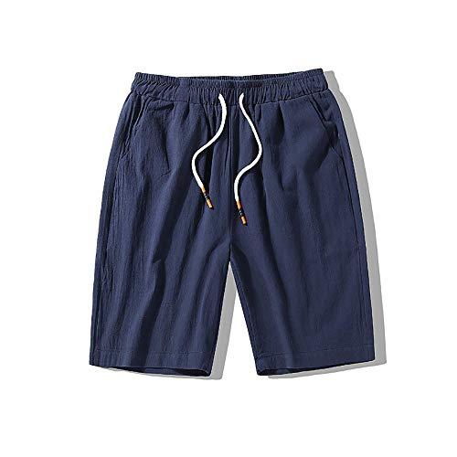 Saoye Fashion Herren Kurz Hosen Sommer Pocket Männer Kleidung Casual Nner Fit Bequme Jungen Strand Arbeit Baumwolle Regular (Color : Blau, Einheitsgröße : L)