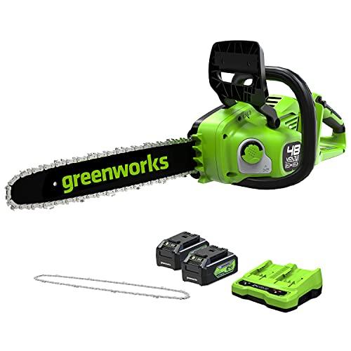 Greenworks Brushless Motosierra Inalámbrica, 2 x 24 V (48 V) 36 cm, Velocidad de Cadena 20 m / s, Freno de Cadena Mecánico, Lubricación Automática (con 2 x 4 Ah Baterías y Cargador)