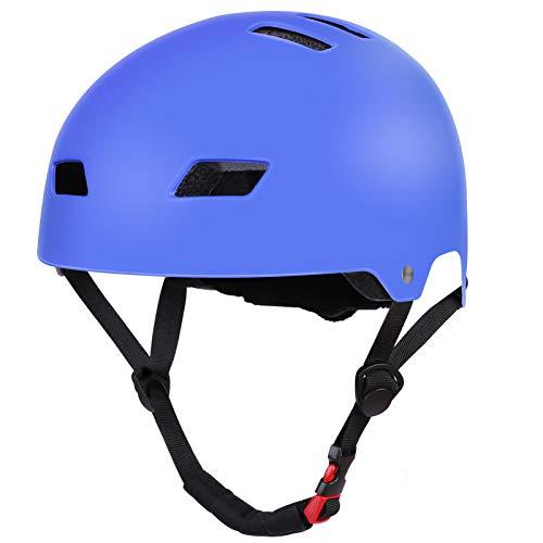 SKATERHELM FÜR INLINER Kinder Skateboard-Helm, Scooter-Helm Gr. 54-58, Skater Helm, Fahrradhelm - Verstellbarer BMX-Helm, mit Drehrad-Anpassung blau
