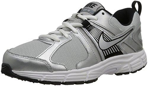 Nike Kids's DART 10 (GS/PS) RUNNING SHOES 5 Kids US (MTLLC SLVR/MTLLC SLVR/WHHT/BLCK)