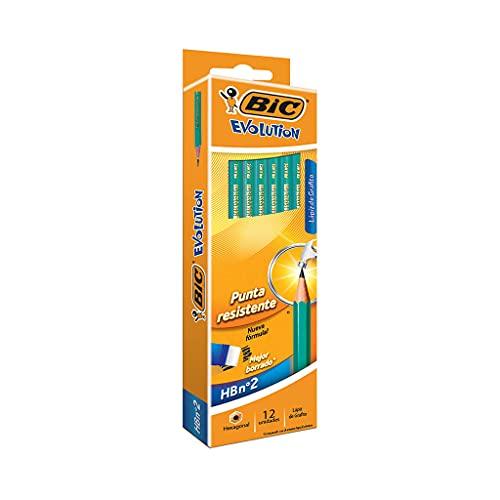 BIC Evolution Original Crayons à Papier avec Gomme Intégrée - HB, Boîte de 12