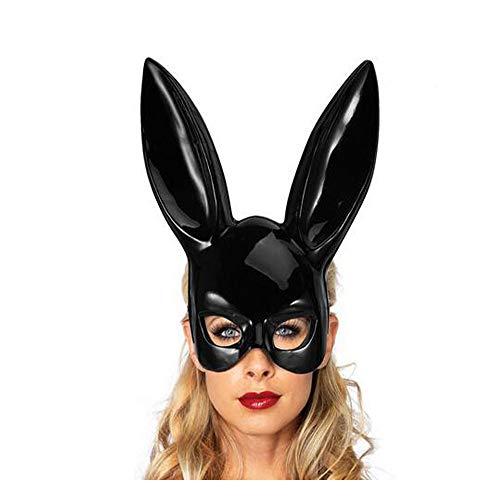 Masquerade Rabbit Mask Bunny Mask Rabbit Ear Mask Women's Costume Masks for Masquerade Ball, Simply Gorgeous! (Bunny Ears) ShinyBlack
