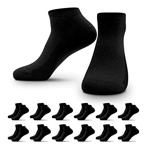 QINCAO 12 Paar Sneaker Socken Herren Damen Sportsocken Baumwoll Unisex Schwarz,43-46