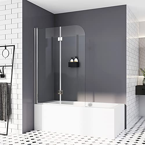Duschwand für Badewannen 100 x 140 cm,Duschabtrennung Sicherheitsglas hell Duschwand Duschabtrennung Nano Glas