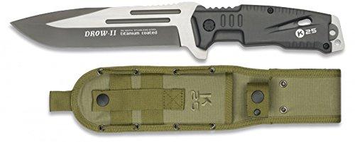 K25-32174 - Cuchillo K25 Modelo DROW-II. Mango Aluminio. Negro. Incluye Skinner. Funda Nylon. Herramienta para Caza, Outdoor, Supervivencia y Bushcraft