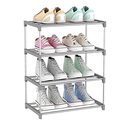 Zapatero Rack De Zapatos Organizador De Almacenamiento De 4 Niveles 12 Pares, Simpleware De Hoja De Casa Plástico Acero Inoxidable Ampliado Ensamblaje Zapato Rack Rosa Gris Azul Armario Organizador